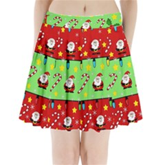 Christmas pattern - green and red Pleated Mini Skirt