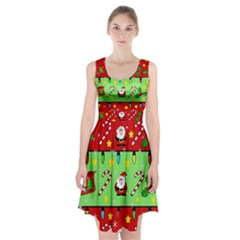 Christmas pattern - green and red Racerback Midi Dress