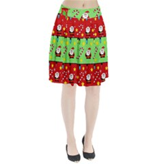 Christmas pattern - green and red Pleated Skirt