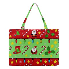 Christmas Pattern   Green And Red Medium Tote Bag