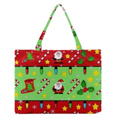 Christmas pattern - green and red Medium Zipper Tote Bag