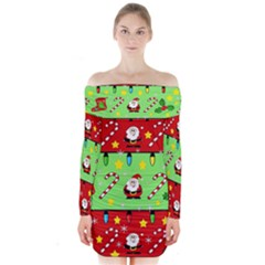 Christmas pattern - green and red Long Sleeve Off Shoulder Dress