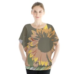 Sunflower Cutout Batwing Chiffon Blouse