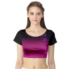 Wcs   Pink Purple Short Sleeve Crop Top