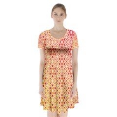 Orange Ombre Mosaic Pattern Short Sleeve V-neck Flare Dress
