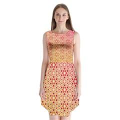 Orange Ombre Mosaic Pattern Sleeveless Chiffon Dress