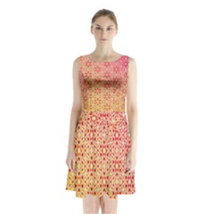 Orange Ombre Mosaic Pattern Sleeveless Chiffon Waist Tie Dress