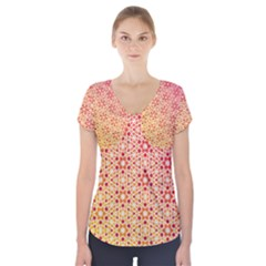 Orange Ombre Mosaic Pattern Short Sleeve Front Detail Top