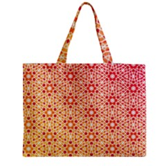 Orange Ombre Mosaic Pattern Medium Zipper Tote Bag