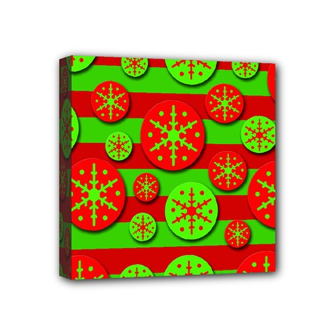 Snowflake red and green pattern Mini Canvas 4  x 4