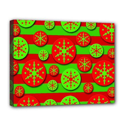 Snowflake red and green pattern Canvas 14  x 11