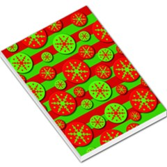 Snowflake red and green pattern Large Memo Pads