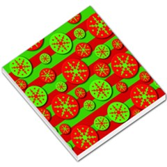 Snowflake red and green pattern Small Memo Pads