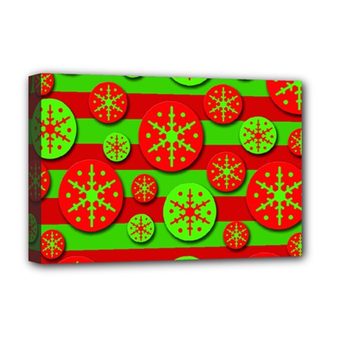 Snowflake red and green pattern Deluxe Canvas 18  x 12