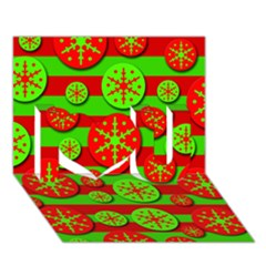 Snowflake red and green pattern I Love You 3D Greeting Card (7x5)