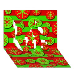 Snowflake red and green pattern LOVE 3D Greeting Card (7x5)