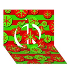 Snowflake red and green pattern Peace Sign 3D Greeting Card (7x5)