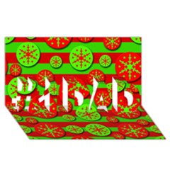 Snowflake red and green pattern #1 DAD 3D Greeting Card (8x4)