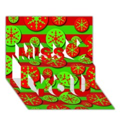 Snowflake red and green pattern Miss You 3D Greeting Card (7x5)