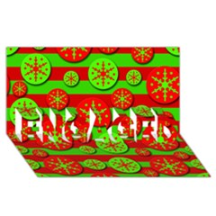 Snowflake red and green pattern ENGAGED 3D Greeting Card (8x4)