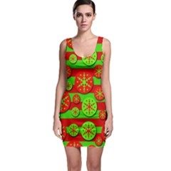 Snowflake red and green pattern Sleeveless Bodycon Dress