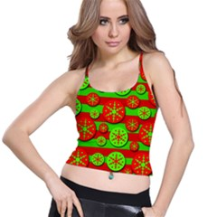Snowflake red and green pattern Spaghetti Strap Bra Top