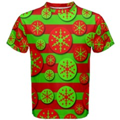 Snowflake red and green pattern Men s Cotton Tee