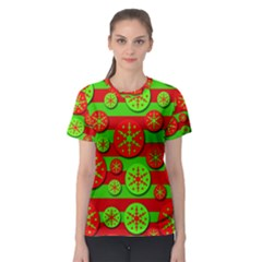 Snowflake red and green pattern Women s Sport Mesh Tee