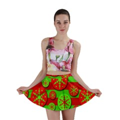 Snowflake red and green pattern Mini Skirt