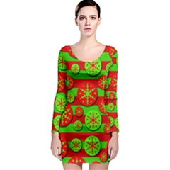 Snowflake red and green pattern Long Sleeve Bodycon Dress