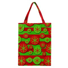 Snowflake red and green pattern Classic Tote Bag