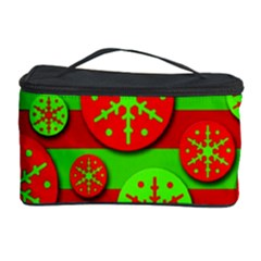 Snowflake red and green pattern Cosmetic Storage Case