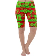 Snowflake red and green pattern Cropped Leggings
