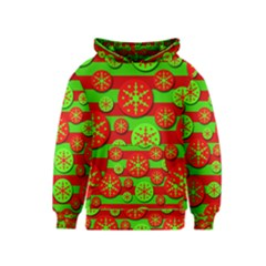 Snowflake red and green pattern Kids  Pullover Hoodie