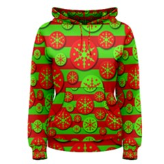 Snowflake red and green pattern Women s Pullover Hoodie