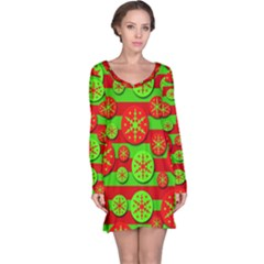 Snowflake red and green pattern Long Sleeve Nightdress