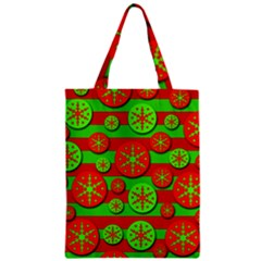 Snowflake red and green pattern Zipper Classic Tote Bag