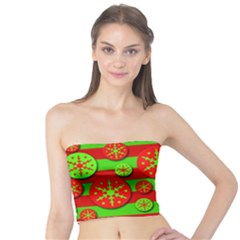 Snowflake red and green pattern Tube Top