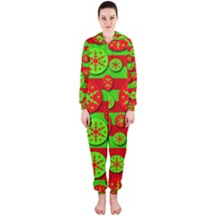 Snowflake red and green pattern Hooded Jumpsuit (Ladies)