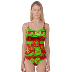 Snowflake red and green pattern Camisole Leotard