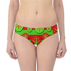 Snowflake red and green pattern Hipster Bikini Bottoms
