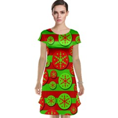 Snowflake red and green pattern Cap Sleeve Nightdress