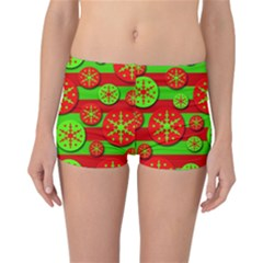 Snowflake red and green pattern Reversible Boyleg Bikini Bottoms