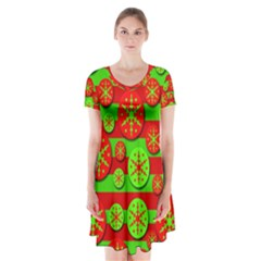 Snowflake Red And Green Pattern Short Sleeve V Neck Flare Dress