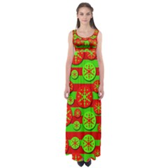 Snowflake red and green pattern Empire Waist Maxi Dress