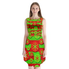 Snowflake Red And Green Pattern Sleeveless Chiffon Dress