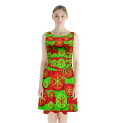 Snowflake red and green pattern Sleeveless Chiffon Waist Tie Dress