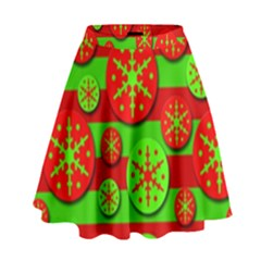 Snowflake red and green pattern High Waist Skirt
