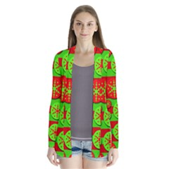 Snowflake Red And Green Pattern Drape Collar Cardigan