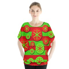 Snowflake Red And Green Pattern Blouse